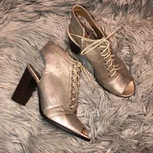 UO Metallic peep toe ankle booties 9 faux leather